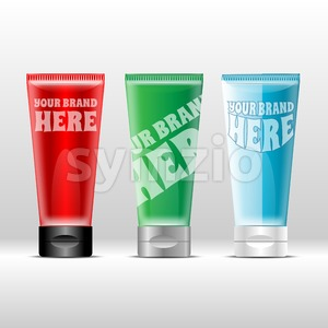 Vector set of plastic colored tube red, green and blue with black and silver caps for cream or gel mockup ready for your design Stock Vector