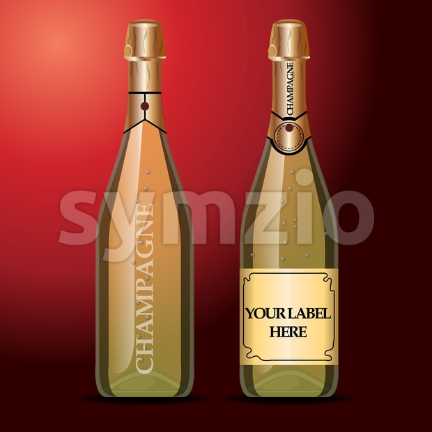 Vector wine bottles mockup with your label here text. Golden bottle, champagne wine with gold caps Stock Vector
