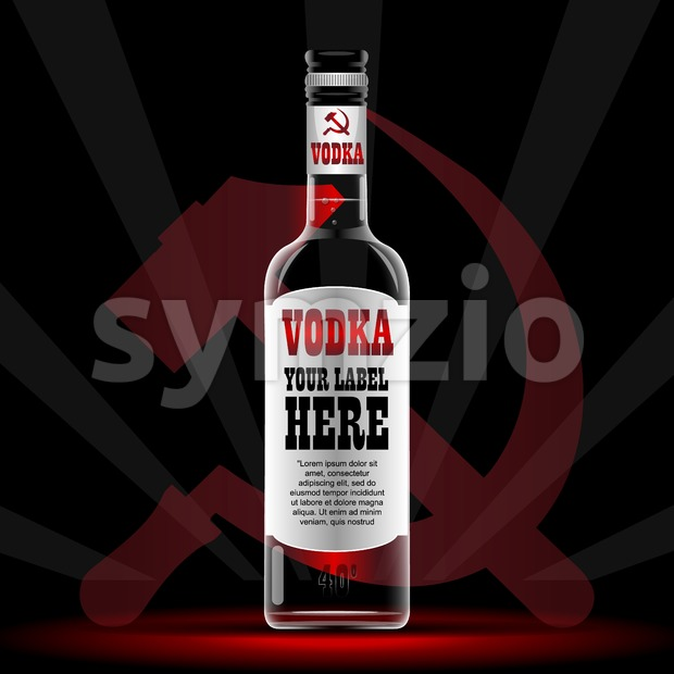 Vector vodka bottle mockup with your label here text. Silver bottle with sickle and hammer logo and cap over black background Stock Vector