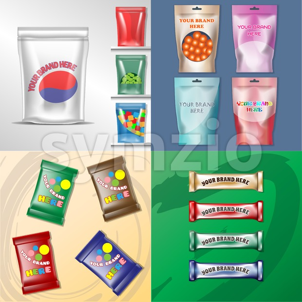 Vector set of colored polyethylene pack for candy and sweets mockup ready for your design Stock Vector