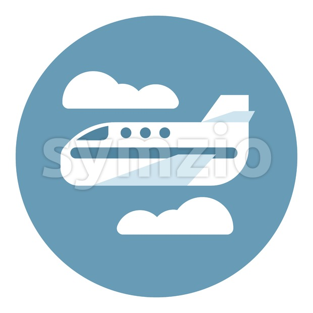 Digital vector aeroplane in blue circle with clouds sign, flat style Stock Vector