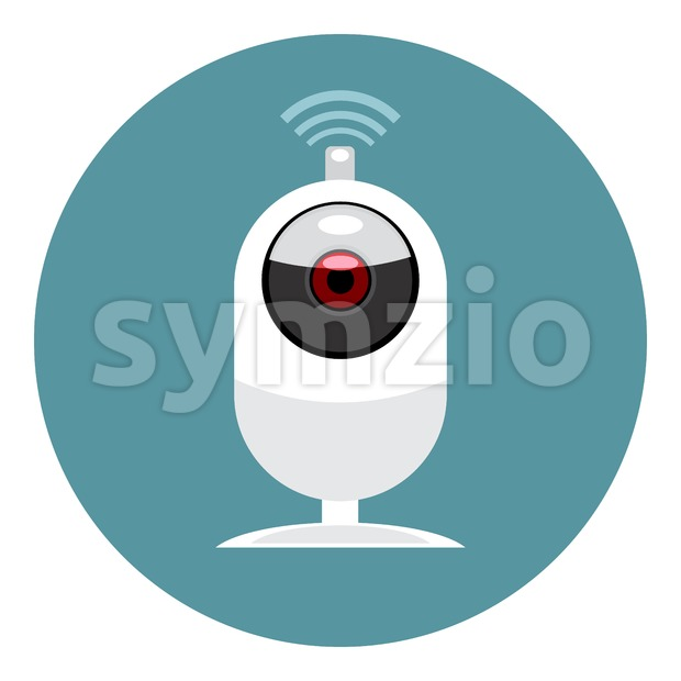 Digital vector white wi-fi and web camera icon, flat style. Stock Vector