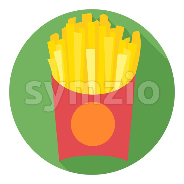 Digital vector potatoe french fries chips red pack in a green circle, flat style. Stock Vector