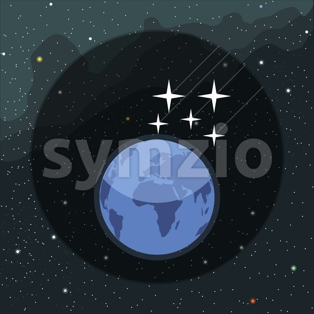 Digital vector planet earth icon with falling stars, over stelar background, flat style. Stock Vector