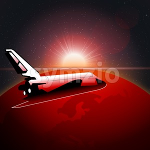 Digital vector planet earth icon with red light and shuttle moving in space, over stelar background, flat style. Stock Vector