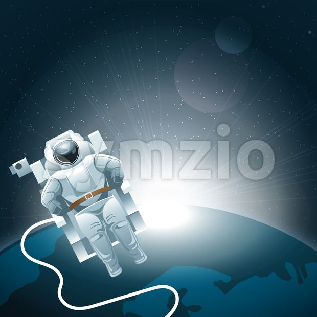 Digital vector planet earth icon with white light and an astronaut moving in space, over stelar background, flat style. Stock Vector