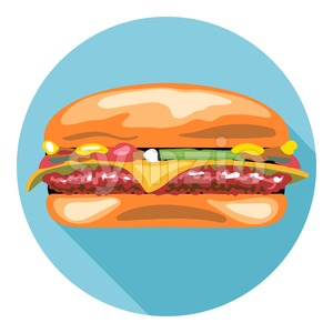 Digital vector tasty cheese burger in a blue circle, flat style. Stock Vector
