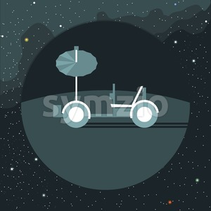 Digital vector with moon rover vehicle icon, over background with stars, flat style Stock Vector