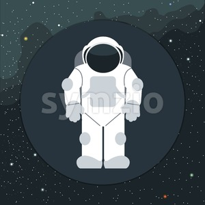 Digital vector with astronaut in space icon, over background with stars, flat style Stock Vector