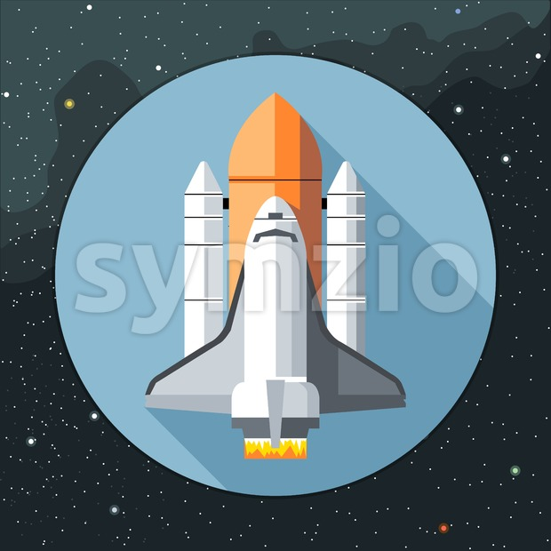 Digital vector with space shuttle icon, over background with stars, flat style Stock Vector