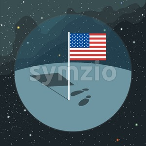 Digital vector with american usa flag icon, planet, shadow and foot steps, over background with stars, flat style Stock Vector