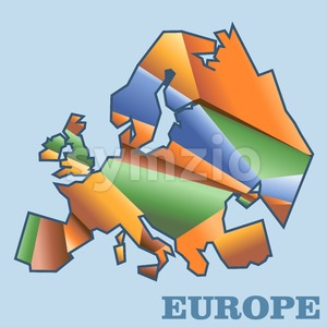 Digital vector europe map with abstract colored triangles, flat style Stock Vector