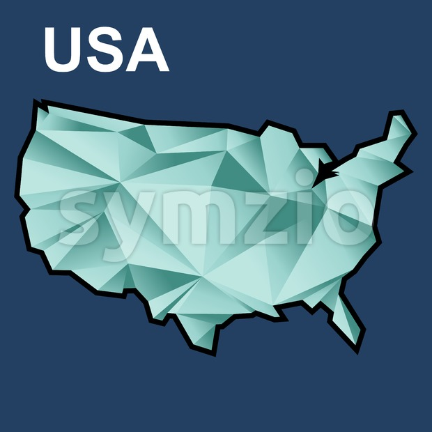 Digital vector usa map with abstract green triangles and black outline, flat style Stock Vector