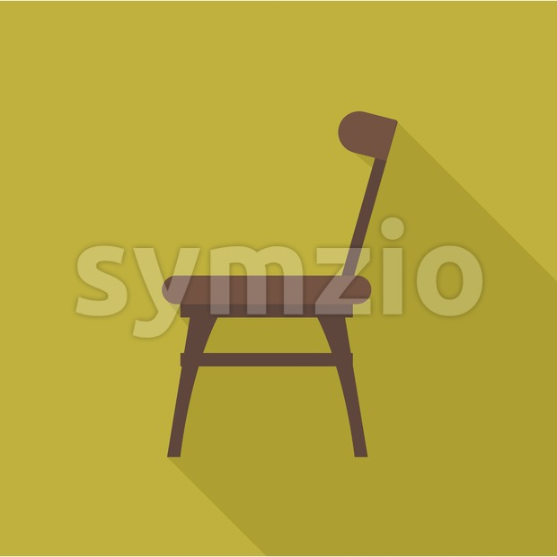 Digital vector wooden brown chair with shadow over dark yellow background, flat style Stock Vector