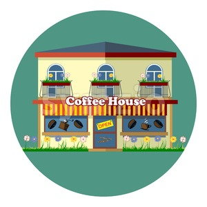 Digital vector coffee house cafe shop with storefront, flowers, windows and beans, flat style Stock Vector