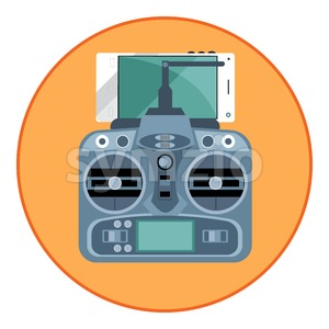 Digital vector blue drone remote control with antenna and mobile phone, in orange circle, flat style Stock Vector