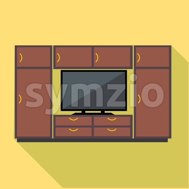 Digital vector brown cabinet furniture and tv set over yellow background isolated, flat style Stock Vector