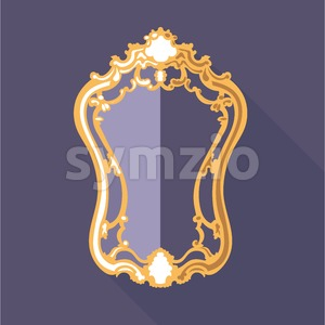 Digital vector golden and purple vintage mirror isolated, flat style Stock Vector