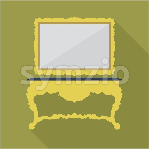 Digital vector green vintage table and mirror isolated, flat style Stock Vector