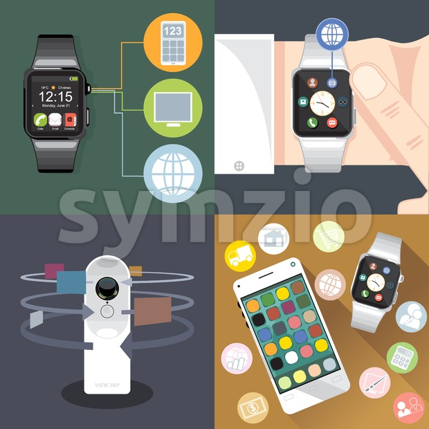 Digital vector gadget, mobile, watch, app and camera icon set, flat style