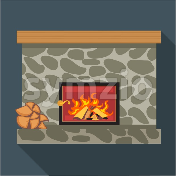 Digital vector fireplace room with burning wood, flat style Stock Vector