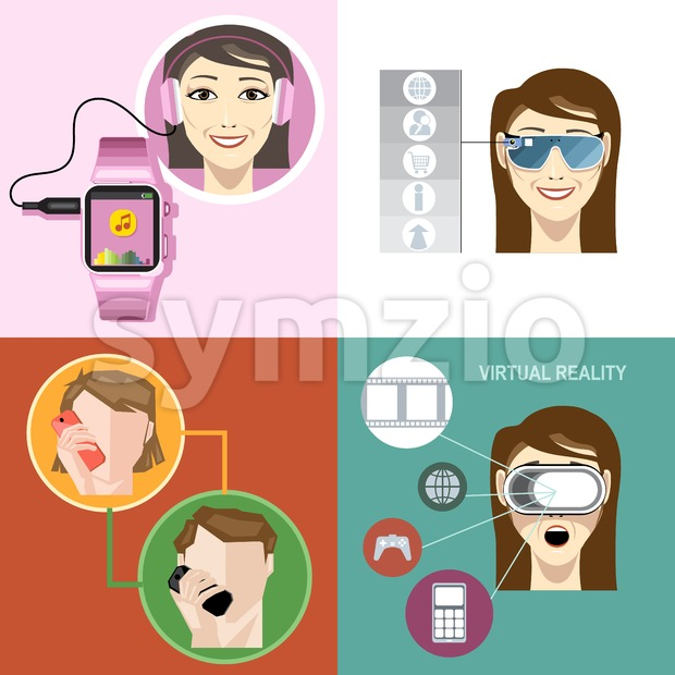 Digital vector with man and woman wearing gadget, mobile, watch, app, virtual reality and camera icon set, flat style Stock Vector