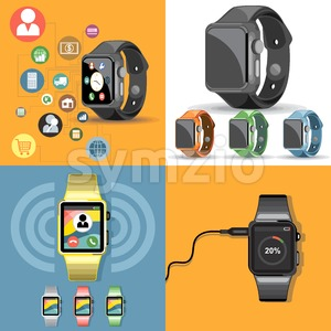 Digital vector gadget, mobile, watch, app and camera icon set, flat style Stock Vector