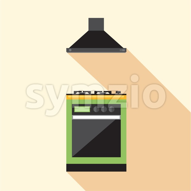 Digital vector picture green and orange kitchen hob set with ventilation, flat style Stock Vector