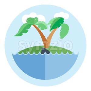 Digital vector island with water, palm tree and shark, flat style Stock Vector
