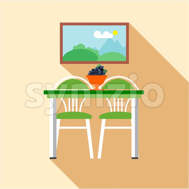 Digital vector picture, grape on table and chairs at the kitchen, flat style Stock Vector