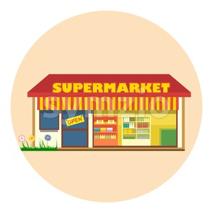 Digital vector super market building icon with open storefront and product shelves, flat style Stock Vector