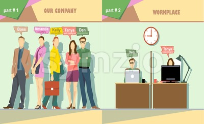 Digital vector company team members and workplace icon set, boss, secretary, accountant, web designer and programmer, flat style Stock Vector