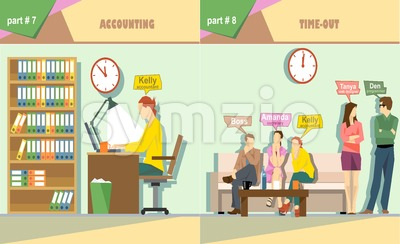Digital vector company accounting and time out icon set, boss, secretary, web designer, accountant and programmer, flat style Stock Vector