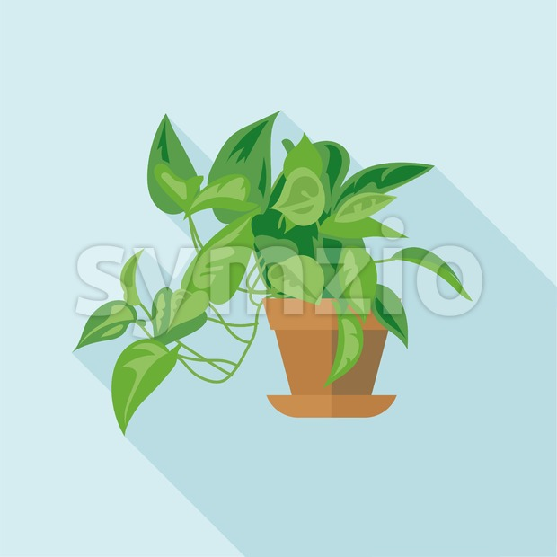 Digital vector green decorative office plant with brown pot, flat style Stock Vector