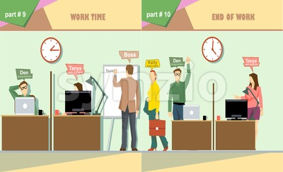 Digital vector company work time and end of work icon set, boss, secretary, web designer, accountant and programmer, flat style Stock Vector