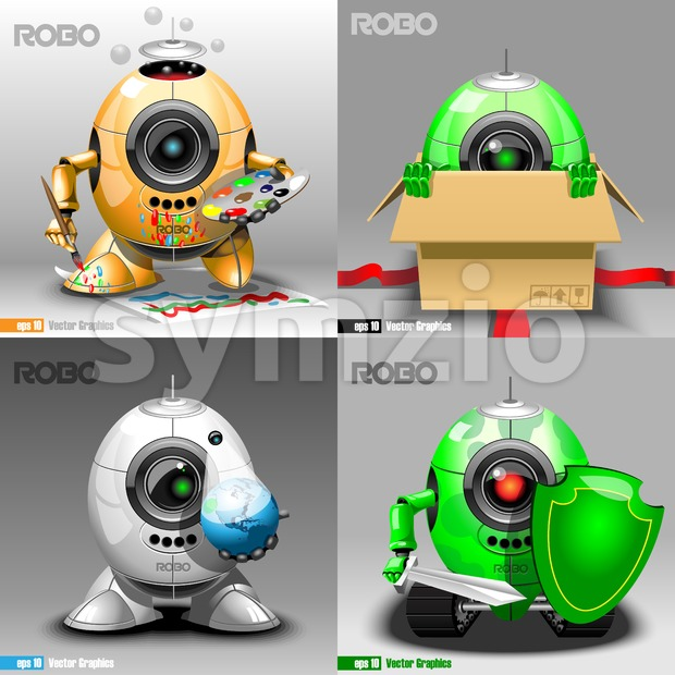 Digital vector robo set, painter, delivery, projector, warrior, orange, green and silver eye borg, 3d style Stock Vector