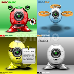 Digital vector robo set, music, fly, red, blue, yellow and silver eye borg, 3d style Stock Vector