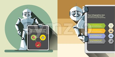 Digital vector silver happy robot presenting infographic with charts, flat style Stock Vector