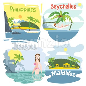 Digital vector touristic vacation destination set, philippines, seychelles, jamaica and maldives, girl swimming, sunset, flat style. Stock Vector