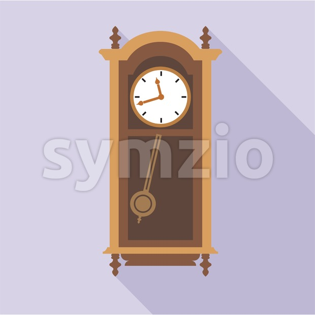 Digital vector old clock in wooden furniture, over purple background, flat style Stock Vector
