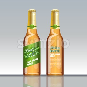 Digital vector brown beer mockup, green and golden bottle, realistic flat style, isolated and ready for your design and logo Stock Vector