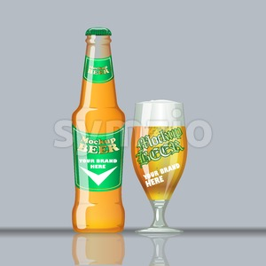 Digital vector glass of beer mockup, green and orange bottle, realistic flat style, isolated and ready for your design and logo Stock Vector