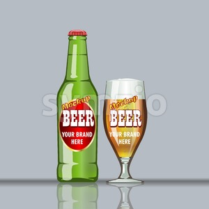 Digital vector glass of brown beer with bubbles mockup, green bottle, realistic flat style, isolated and ready for your design and logo Stock Vector