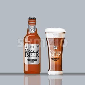 Digital vector glass and bottle of dark brown beer with bubbles mockup, realistic flat style, isolated and ready for your design and logo Stock Vector