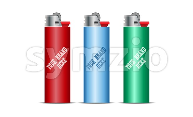 Digital vector cigarette lighter mockup, red, blue and green, realistic flat style, isolated and ready for your design and logo Stock Vector