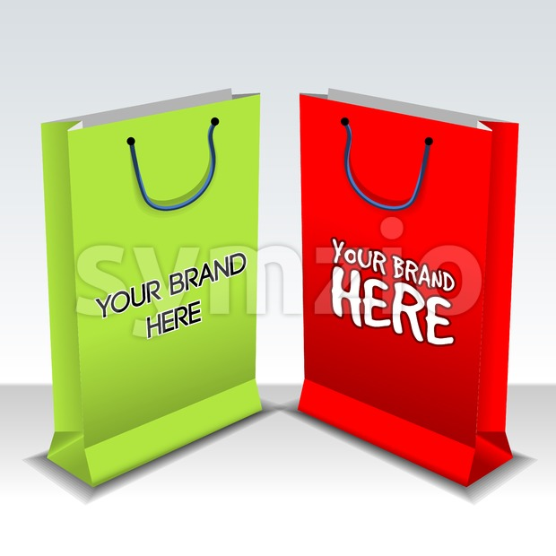 Digital vector empty green and red shopping bags mockup, ready for your logo and design, flat style Stock Vector
