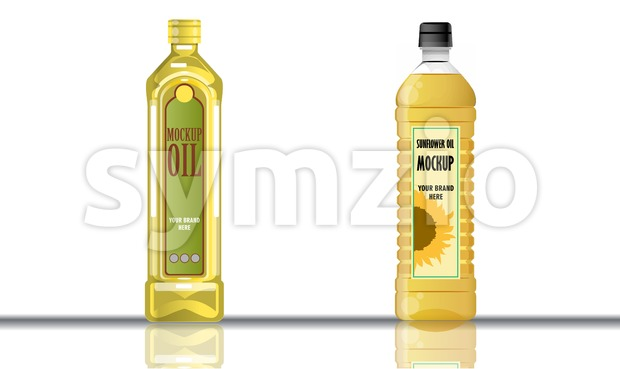 Digital vector yellow olive and sunflower oil plastic or glass bottle mockup, ready for your logo and design, flat style Stock Vector