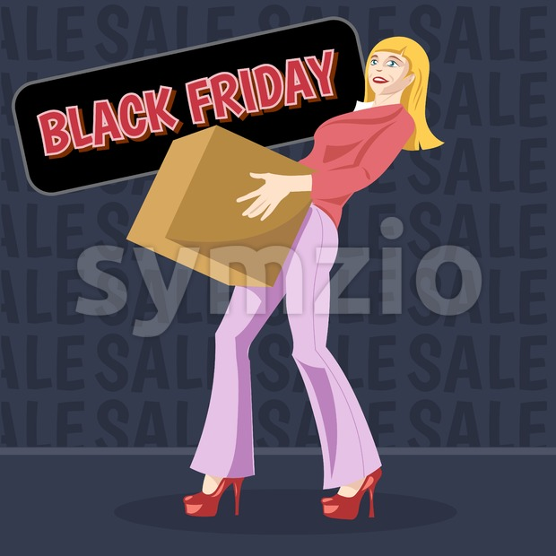 Digital vector black friday sale inscription design template with a happy woman and a shopping box. Stock Vector