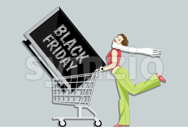Digital vector black friday sale inscription design template with a happy woman and a tv on a shopping cart. Stock Vector