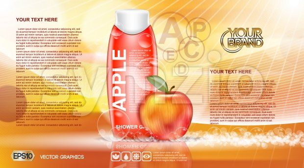 Digital vector orange and red shower gel cosmetic container mockup, your brand, ready for print ads or magazine design. Apple fruit and soap bubbles. Stock Vector